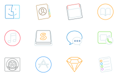 12 Stroke Mac Icons Vector