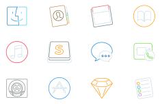 12 Stroke Mac Icons Vector