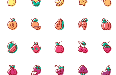 45 Fruit & Vegetable Vector Icons