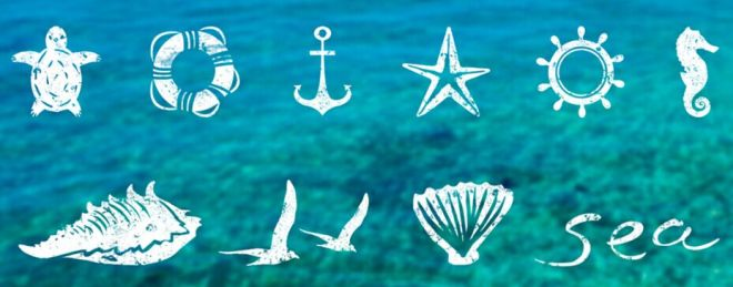 8 Sea Icons PSD