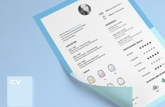 Minimal Clean Resume CV Template With Icons PSD