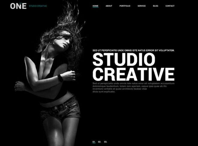 Modern Dark Website Template PSD