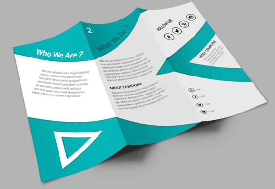 Clean Corporate Tri-fold Brochure PSD Mockup