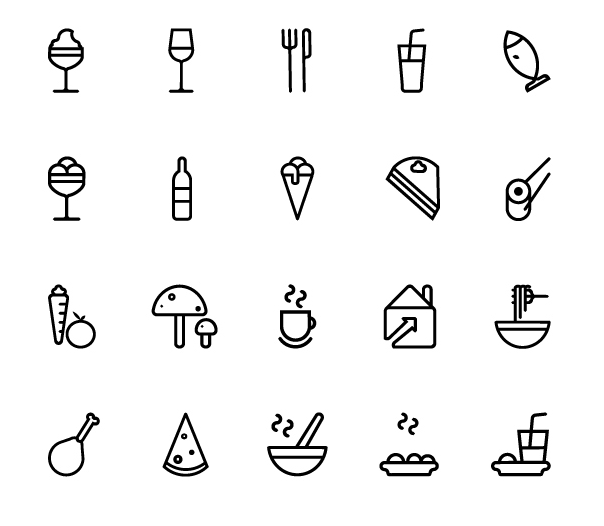 20 Restaurant Line Icons Vector