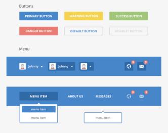 Blue Social UI Kit PSD
