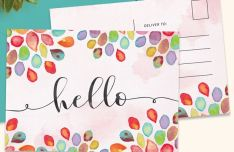 Hello Flower Postcard Template PSD