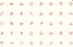 56 Minimal Food & Fruit Icons Vector