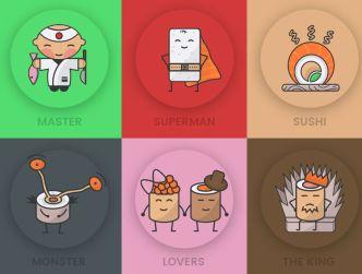 Cute Sushi Icon Set PSD