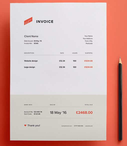 Clean Flat Invoice Vector Template