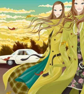 Modern Long Hair Girl In Winter Illustration Vector