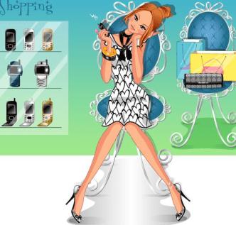 Shopping Girl Vector Illustration