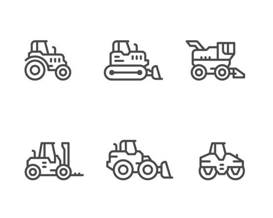 Tractor Line Icon Set