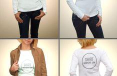 4 Woman Shirt Mock-Ups PSD