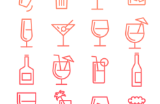 Birthday Drinks Line Icons Vectro