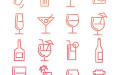 Birthday Drinks Line Icons Vectro