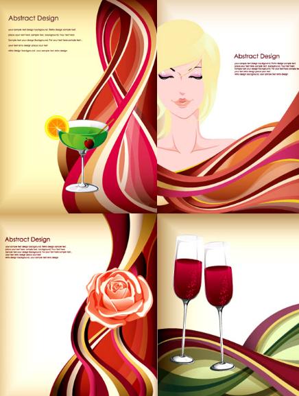 4 Beauty & Wine Vector Illustrations