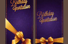 Violet Birthday Invitation Card Vector 03