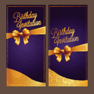 Violet Birthday Invitation Card Vector 04