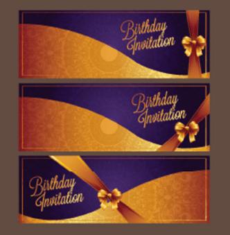 Violet Birthday Invitation Card Vector 09