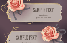 Retro Rose Tags Vector