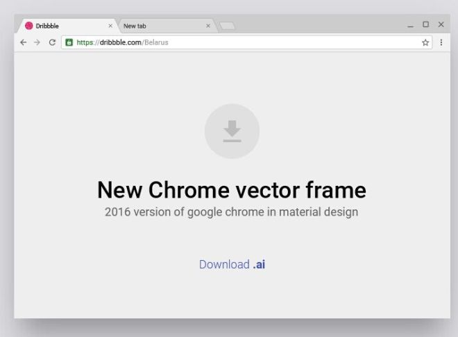 Material Design Style Chrome Browser Vector Frame