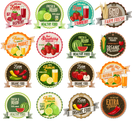 Organic Fruit Label Set Vector