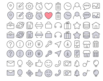 40 UI Line Icons Vector