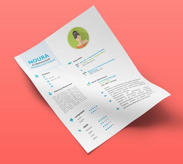 free flat infographic resume    cv template  ai psd