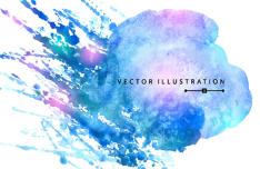 Blue Splash Watercolor Background Vector