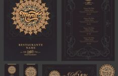Elegant Dark Restaurant Design Elements Vector