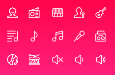 15 Music Line Icons PSD