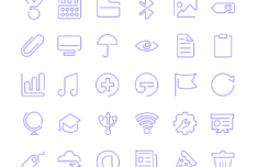 90 Outline UI Icons Vector