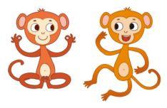 2 Cartoon Monkey Illustrations Vector
