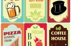 Retro Food & Drink Signs Vector