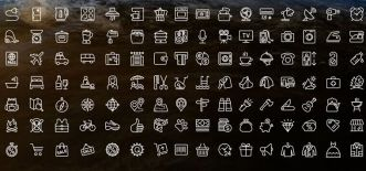 100-thin-line-icons-vector