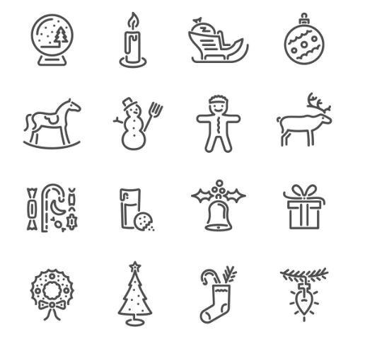 16-minimal-clean-christmas-line-icons-vector