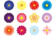 12-flat-flower-icons-vector