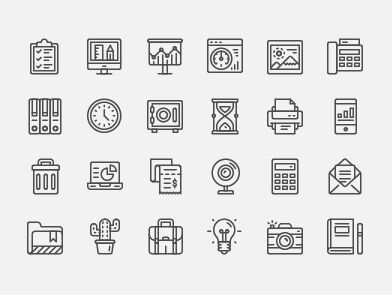 24 Office Line Icons ( AI, SVG, PNG)
