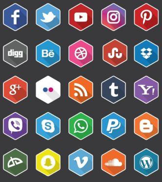 25 Flat Hexagon Social Icons Vector