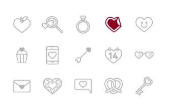 15 Valentine Line Icons Vector