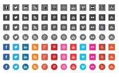 12 Flat Style Social Icons Vector