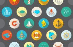 12 Flat Circular Sea Icons Vector