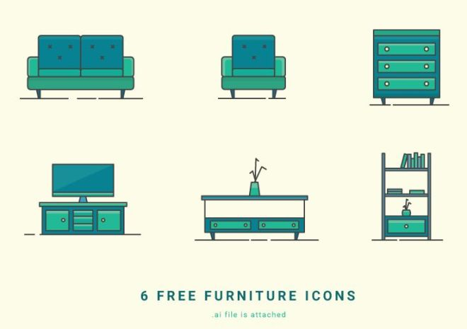 6 Furniture Vector Icons
