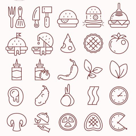 25 Food Line Icons Vector