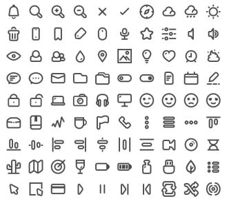 90 Simple Line Icons (Multiple Formats)