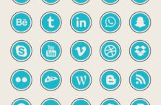 25 Rock Textured Social Icons Vector