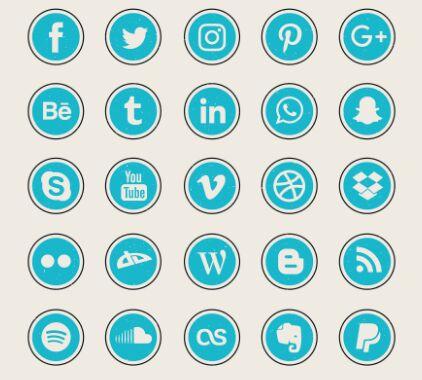 25 Rock Textured Social Icons Vector