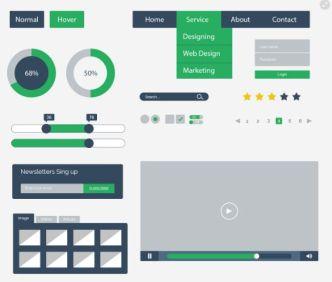 Minimal Flat UI Kit PSD