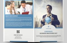 Blue Business Bi-Fold Brochure Mockup PSD