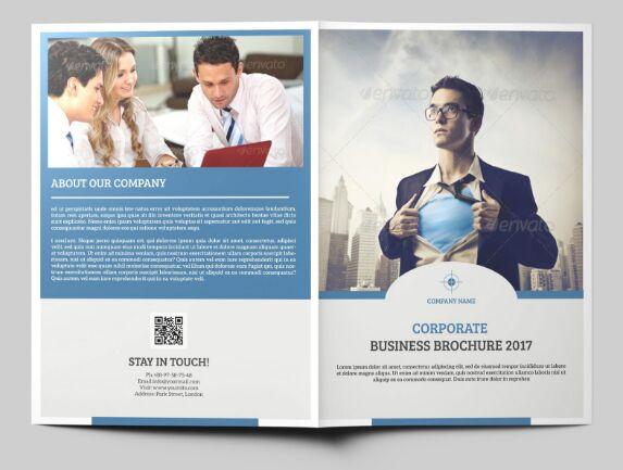 Blue Business Bi-Fold Brochure Mockup PSD